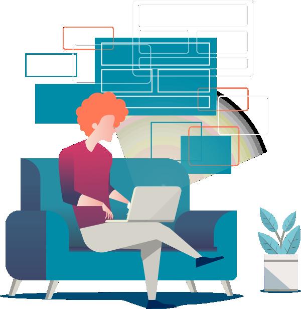 Ilustração de um rapaz sentado no sofá utilizando seu noteebok. Ao lado tem um vaso de planta e na parede atrás do rapaz umas formas retangulares que lembram quadros nos remetendo à um ambiente de sala.
