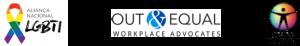 Logos da Aliança Nacional LGBTI+, Out & Equal e Grupo Dignidade